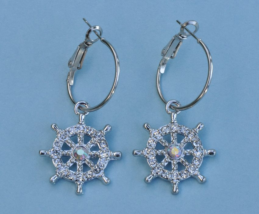 Ship's Wheel Rhinestone Earrings