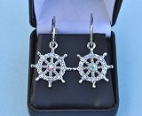 Detail of Ship's Wheel Rhinestone Earrings