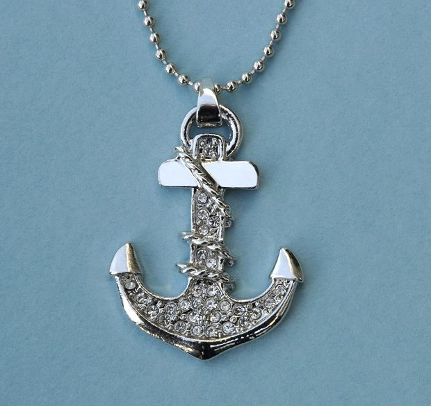 Nautical Anchor Pendant with Rhinestones and Adjustable Beaded Chain