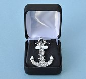Nautical Anchor Pendant with Rhinestones and Adjustable Beaded Chain in Hinged Gift Box