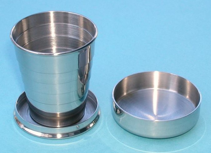 Small 2 oz. Stainless Steel Collapsible Drinking Cup with Lid