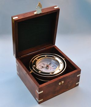 Stanley London Gimbaled Solid Brass Boxed Clock with Quartz Movement