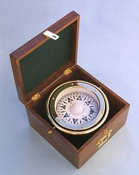 Stanley London Engravable Paperweight Compass with Hardwood Box