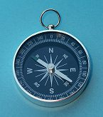 Large Black Open Face Pocket Compass