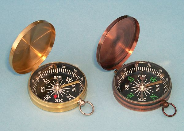 Lightweight Brass Pocket Compasses