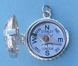 Classic Swirl Design Silver Compass Locket with Cover Open