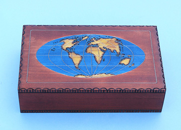 Handmade Polish World Map Cartography Box