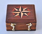 Optional Small Hardwood Case with Hand Inlaid Compass Rose