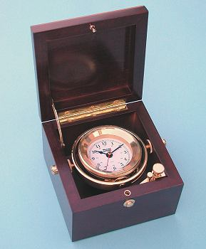 Weems and Plath Gimbaled Solid Brass Boxed Clock with Quartz Movement