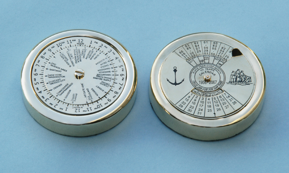 Solid Brass World Time Zone Clock and Perpetual Calendar Paperweights