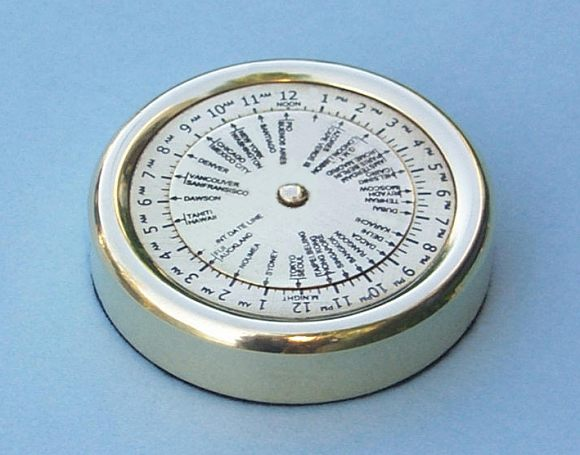 Solid Brass World Time Zone Calculator Paperweight